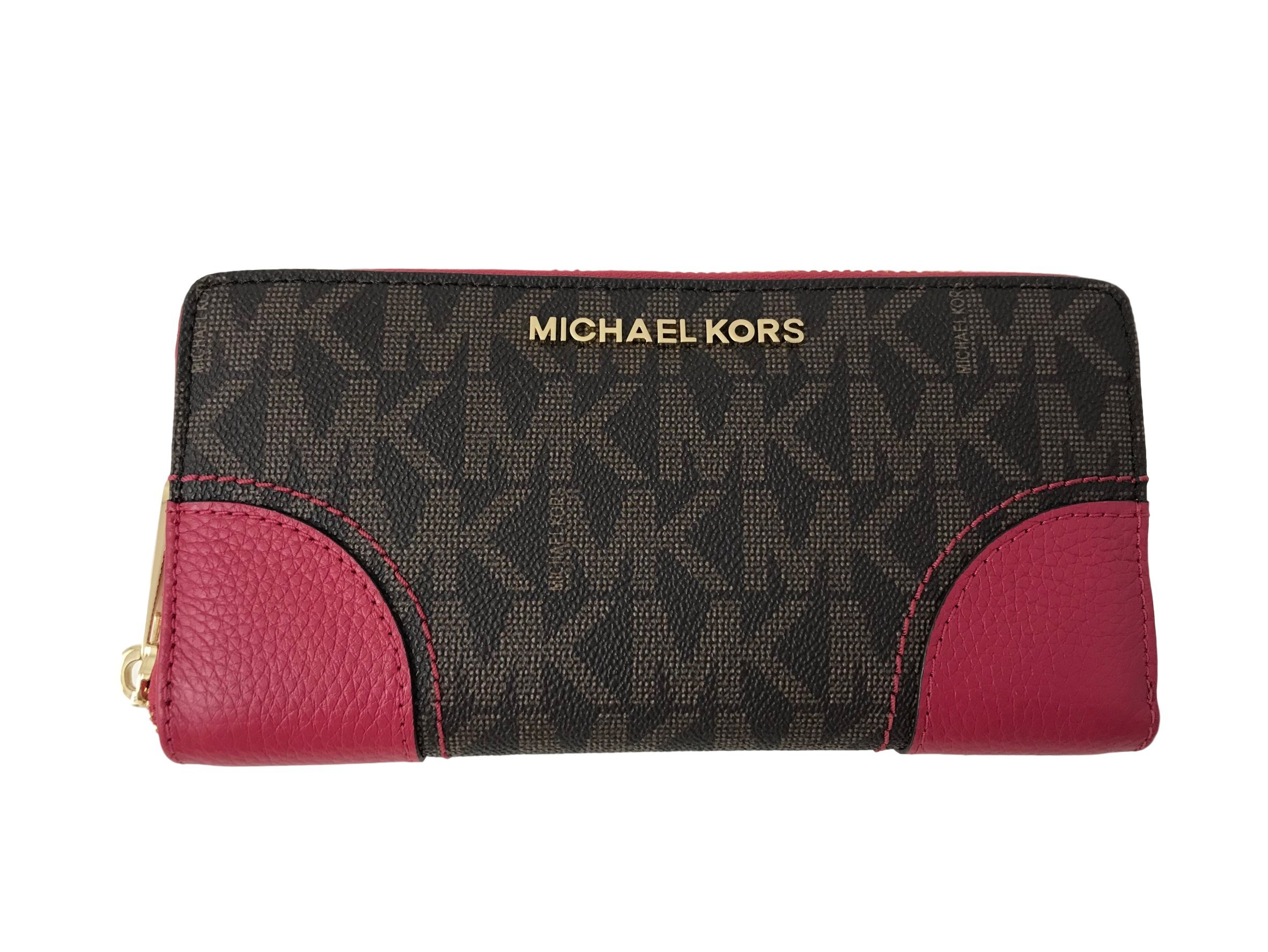Michael Kors Hattie Zip Around Continental Wallet - Brown/Lipstick