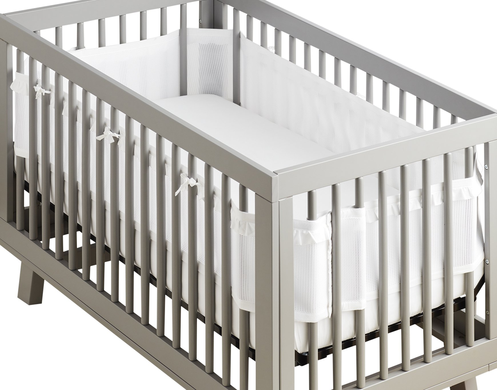 BreathableBaby | Deluxe Breathable Mesh Crib Liner | Doctor Endorsed | Helps Prevent Arms and Legs from Getting Stuck Between Crib Slats | Independently Tested for Safety | White Ruffle