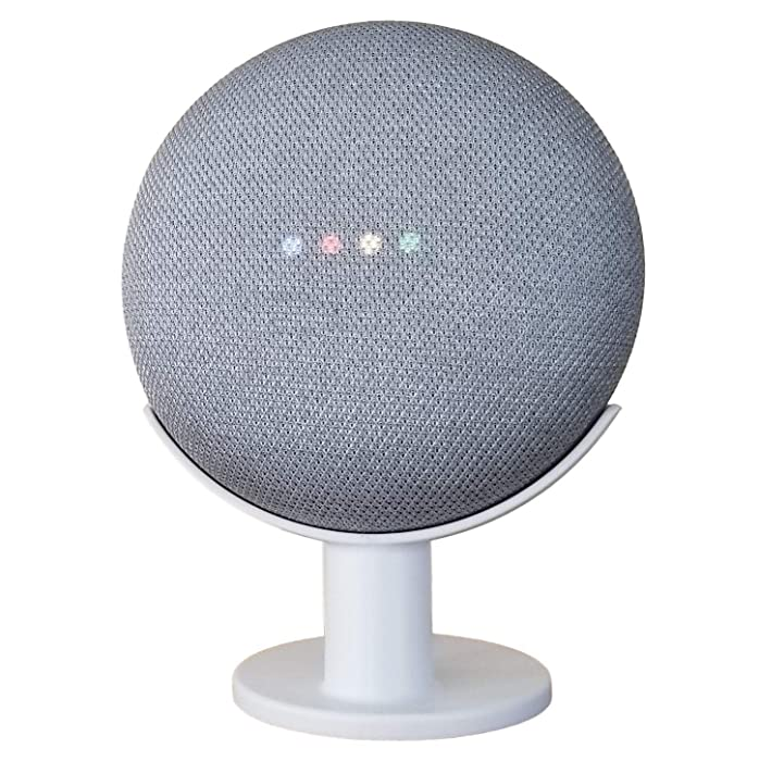 Mount Genie Google Home Mini Pedestal: Improves Sound Visibility and Appearance - Cleanest Mount Holder Stand for Google Mini - Designed in USA (White)