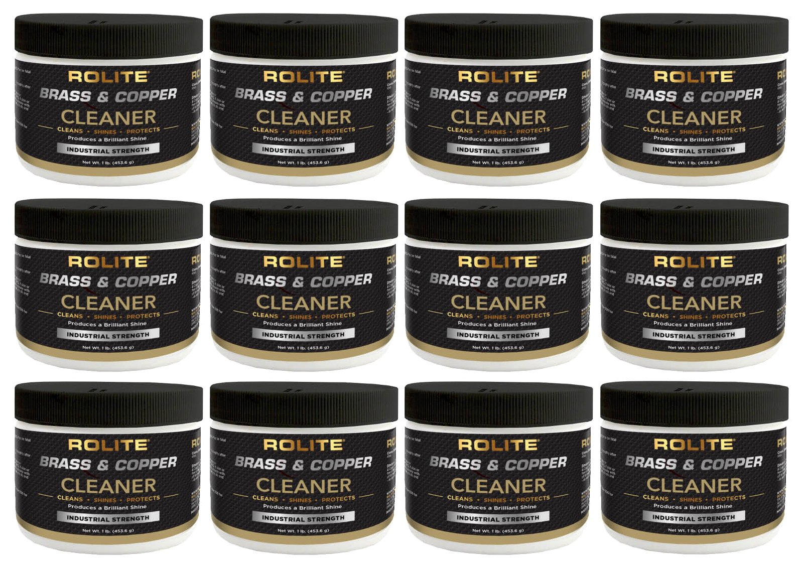 Rolite Brass & Copper Cleaner (1lb) Instant Cleaning & Tarnish Removal on Railings, Elevators, Fixtures, Hotels, Cruise Ships, Buildings 12 Pack