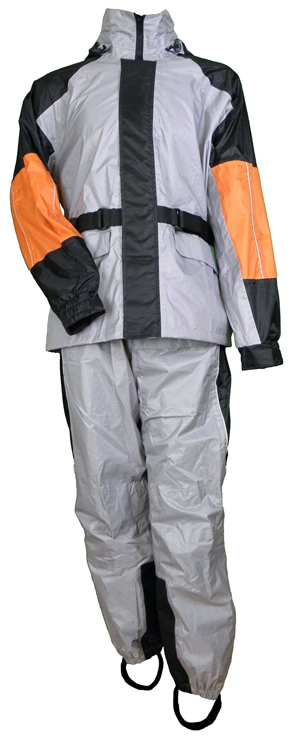 Premium Rainsuit Black/Gray & Orange by Vance Leather