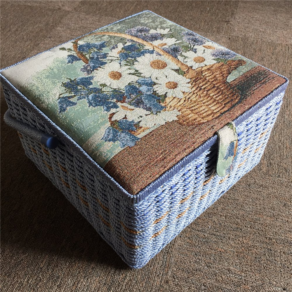 SAXTX 100/% Handmade Extra Large Sewing Basket with 107 Pcs Professional Accessories Vintage Wooden Sewing Box Organizer 13.4 x 13.4 x 8 inches Sewing Kit Baskets with Compartments