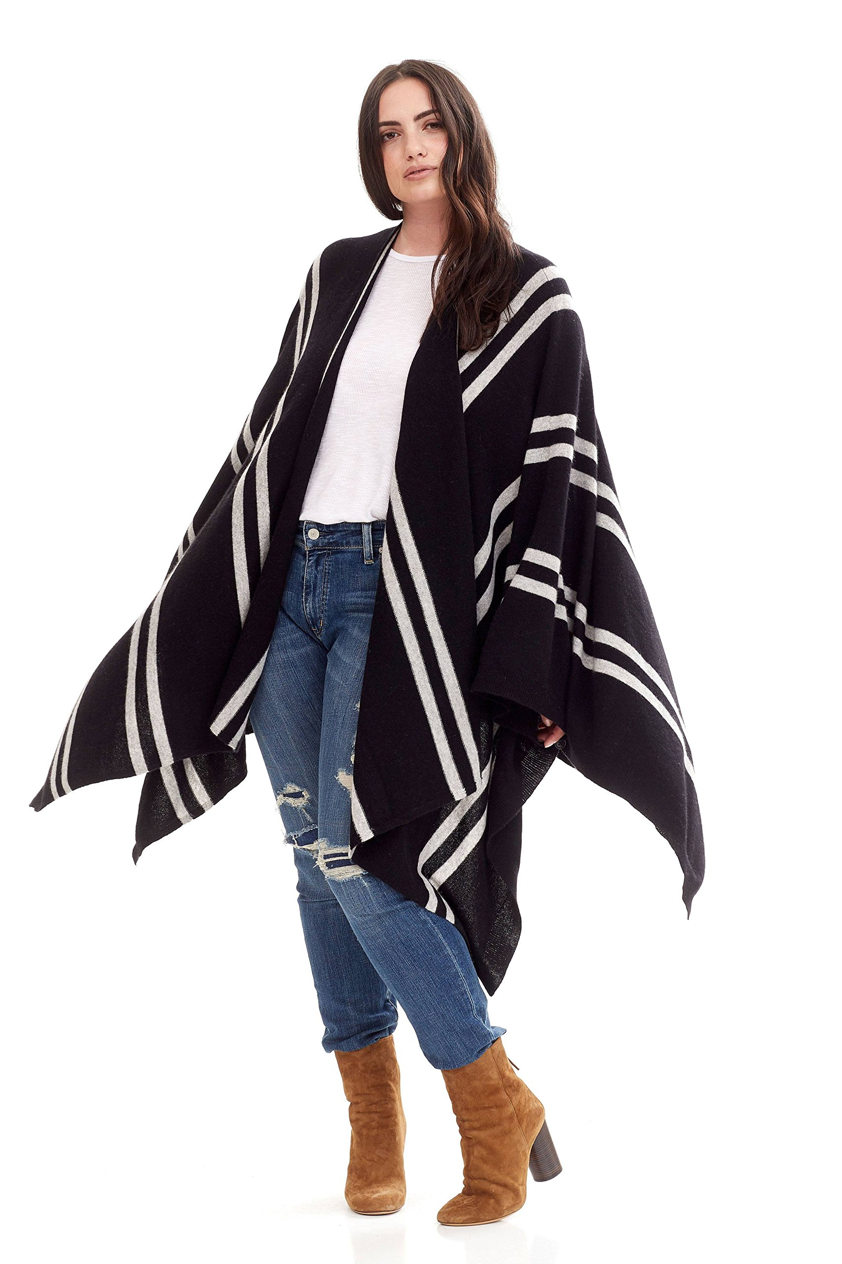 NAKEDCASHMERE Women's Adele Wrap O/S Black/Heather Grey Stripes by NAKEDCASHMERE