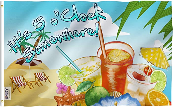Anley Fly Breeze 3x5 Foot It's 5 o'Clock Somewhere Flag - Vivid Color and UV Fade Resistant - Canvas Header and Double Stitched - Sandy Beach Flags Polyester with Brass Grommets 3 X 5 Ft