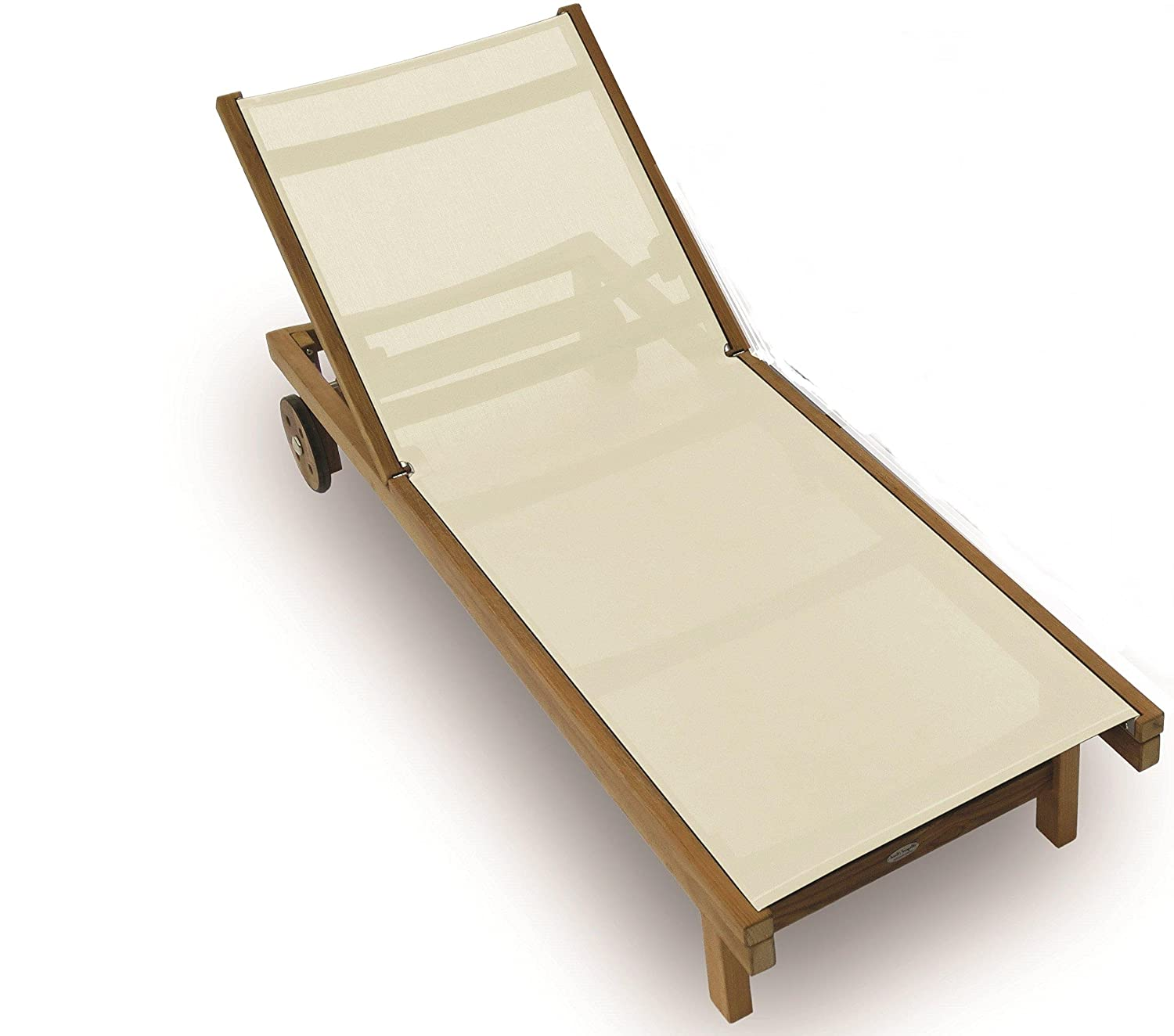 Amazon Royal Teak Sundaze Sling Chaise White Patio