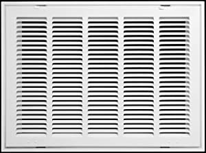 "20"" X 14 Steel Return Air Filter Grille for 1"" Filter - Fixed Hinged - Ceiling Recommended - HVAC Duct Cover - Flat Stamped Face - White [Outer Dimensions: 22.5 X 15.75]"