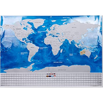 Amazon scratch off world map in blue and silver scratch off scratch off world map in blue and silver scratch off travel map home dcor gumiabroncs Gallery
