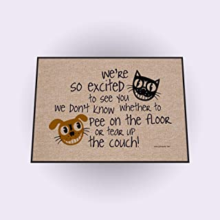 product image for We're So Excited ... Funny Indoor Outdoor Doormat