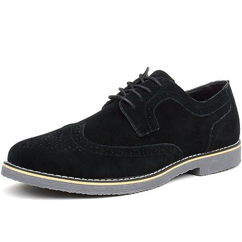18b666cc423fa3 Amazon.com | alpine swiss Beau Mens Dress Shoes Genuine Suede Wing Tip  Brogue Lace Up Oxfords | Oxfords