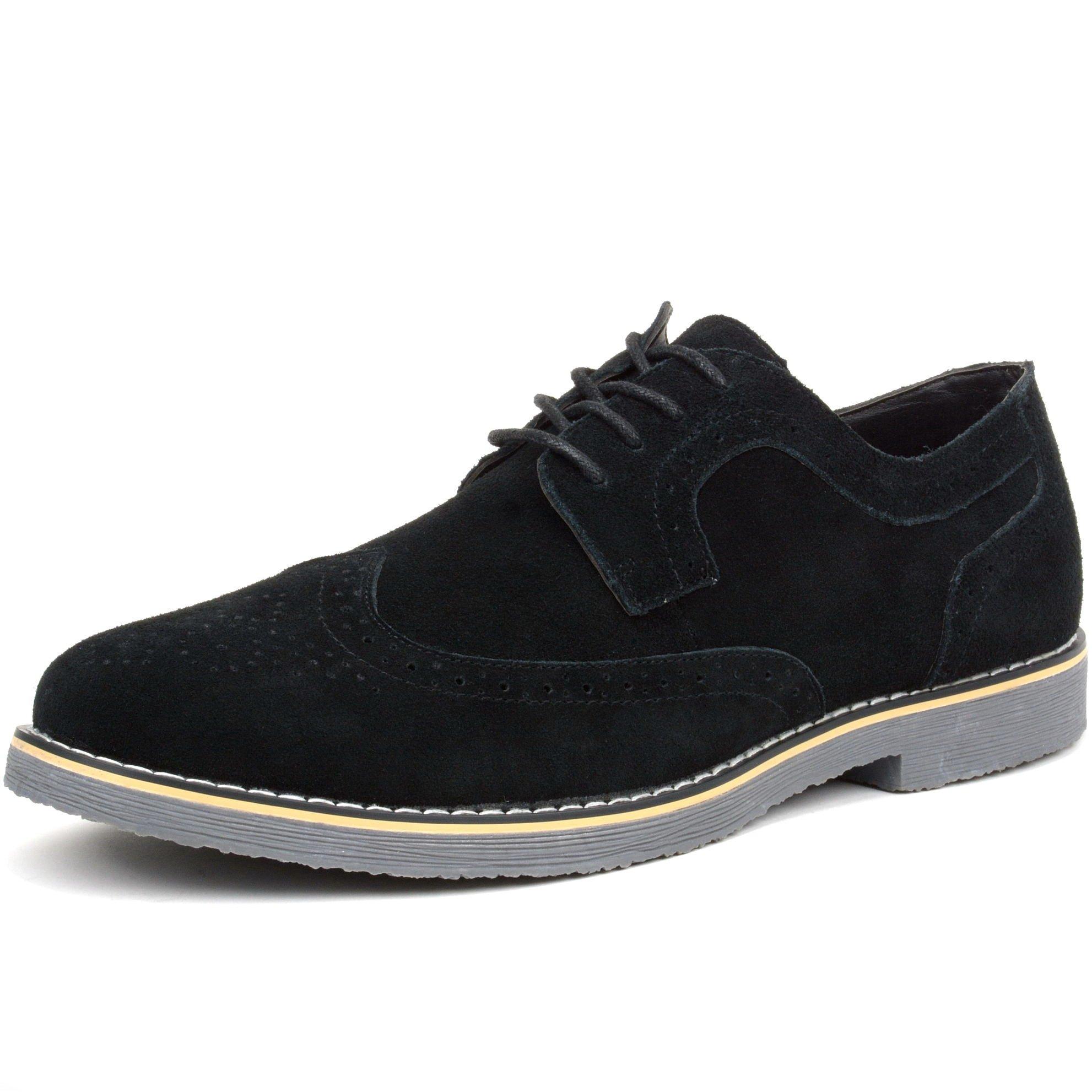 alpine swiss Beau Mens Dress Shoes Genuine Suede Wing Tip Oxfords Black 12 M US