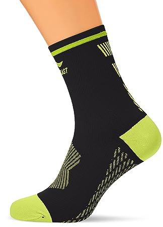 Sportlast Pro Calcetines de compresión para Ciclismo, Negro/Amarillo, XL