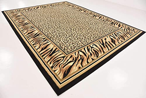 Unique Loom Wildlife Collection Cheetah Border Animal Print Light Brown Area Rug 9 0 x 12 0