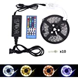 LED Strip Lights Kit –RGBW Led Strip Waterproof 16.4ft (5M) 300 LEDs SMD 5050 Warm White Plus RGB Light With 40Keys Remote Controller and 5A Power Supply,Flexible Led Strip for Party Home Decor(RGBWW