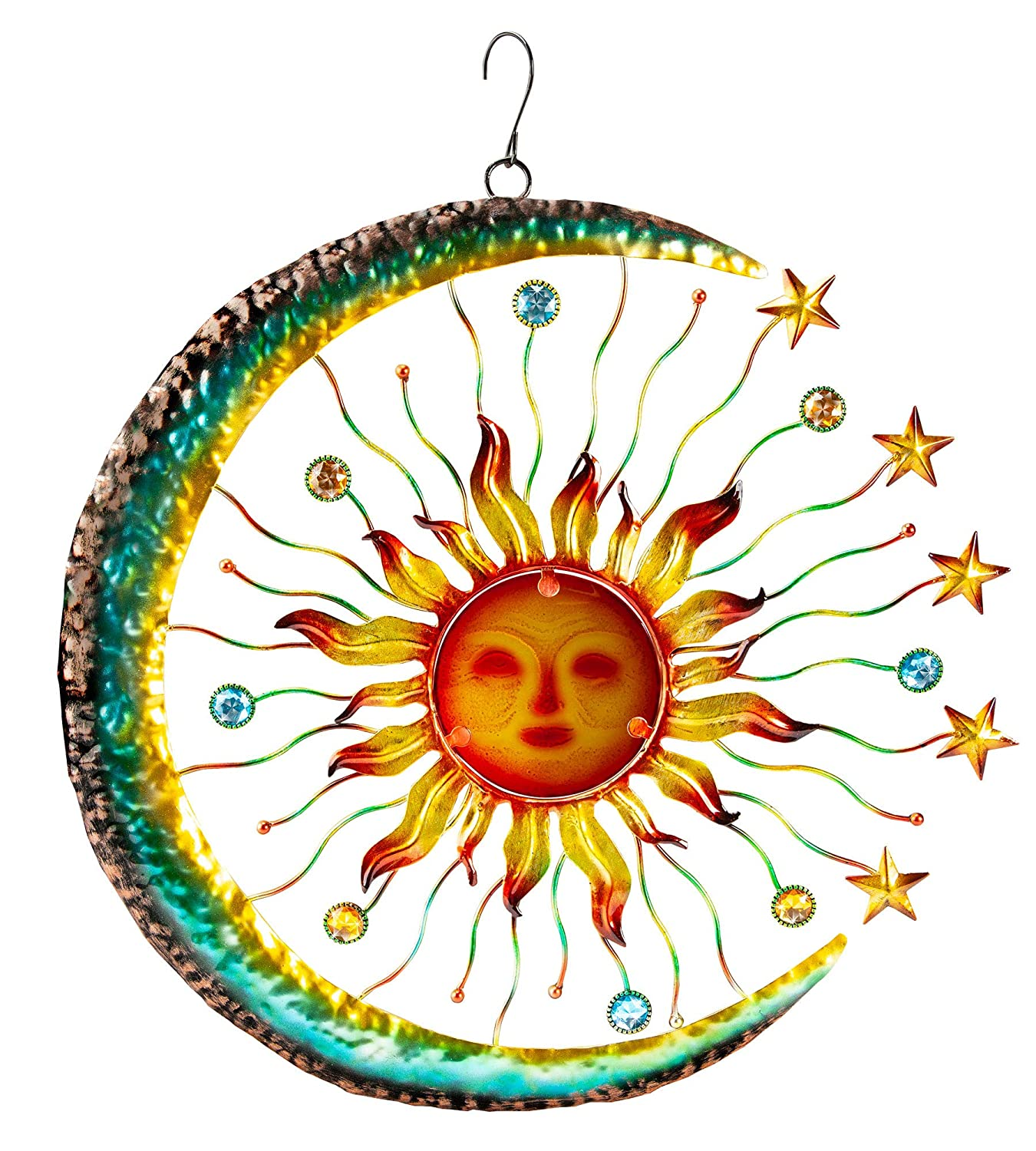 The Paragon Sun Face Accented by Stars and Moon, Glass Sun Wall Art Indoor or Outdoor Home Decor