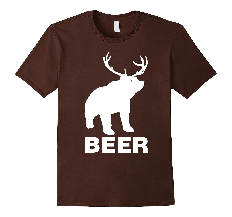 Beer Deer T-Shirt - Funny Bear Drinking Tee-CD