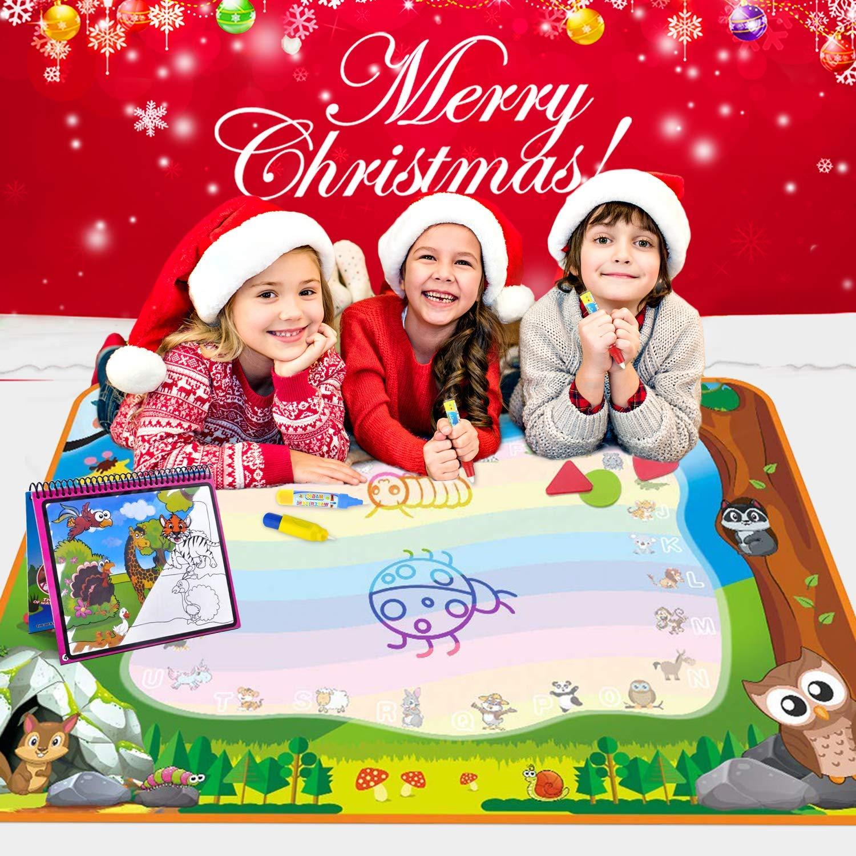 Alfombrilla de dibujo con dibujo de arco iris, tamaño grande, 7 colores, con libro de agua de Aqua, 4 bolígrafos mágicos y 8 sellos - Mejor juguete de ...