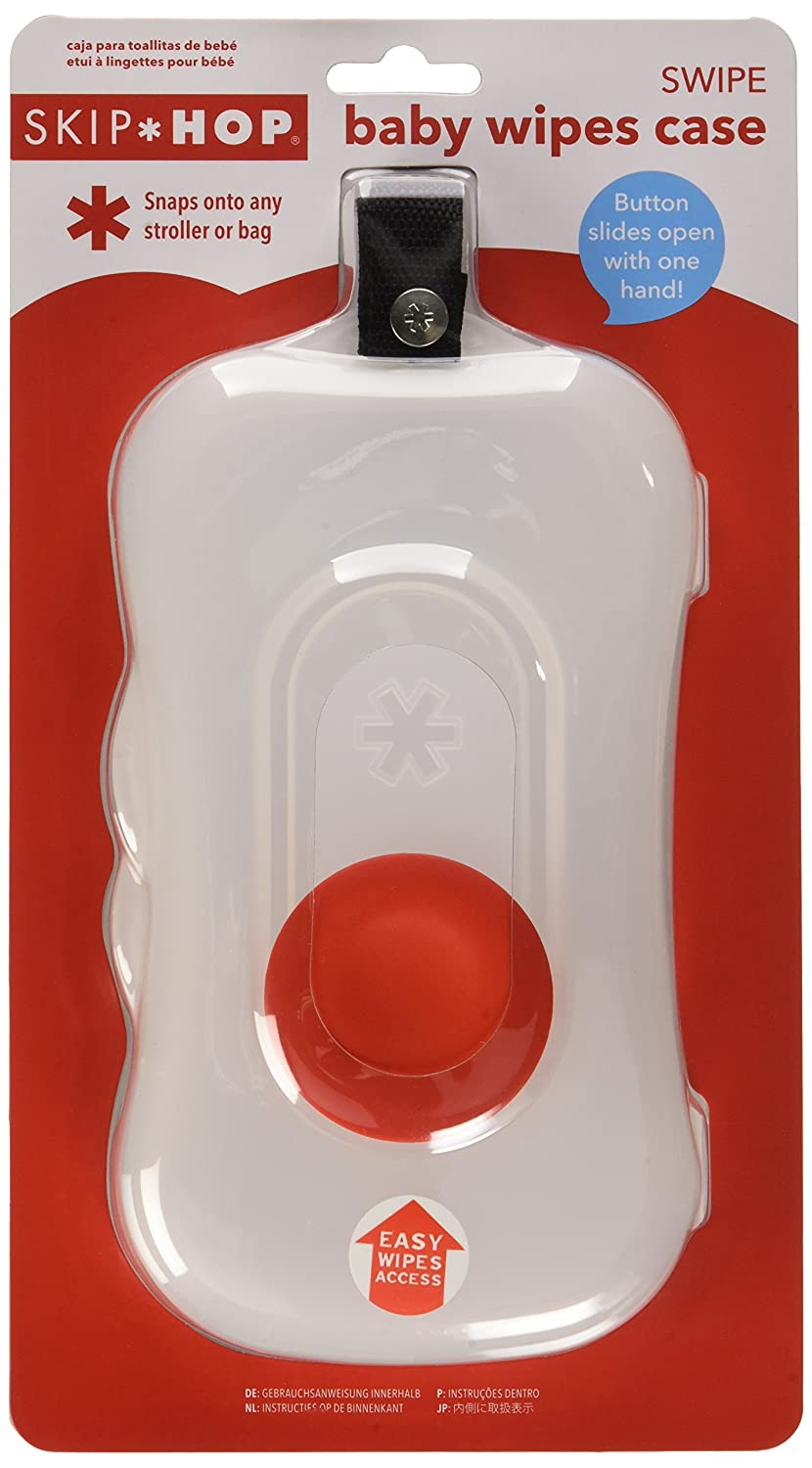 Red Skip Hop Baby Swipe Baby Wipes Case with Button Slide and Attachable Strap