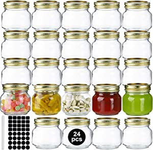 24 Pack 8oz Mason Jars,Glass Jars With Regular Lids and Bands,Canning Jars For Pickles And Kitchen Storage,Wide Mouth Spice Jars With Gold Lids For Honey,Caviar,Herb,Jelly,Jams-40 Black Labels,1 Chalk Marker Included