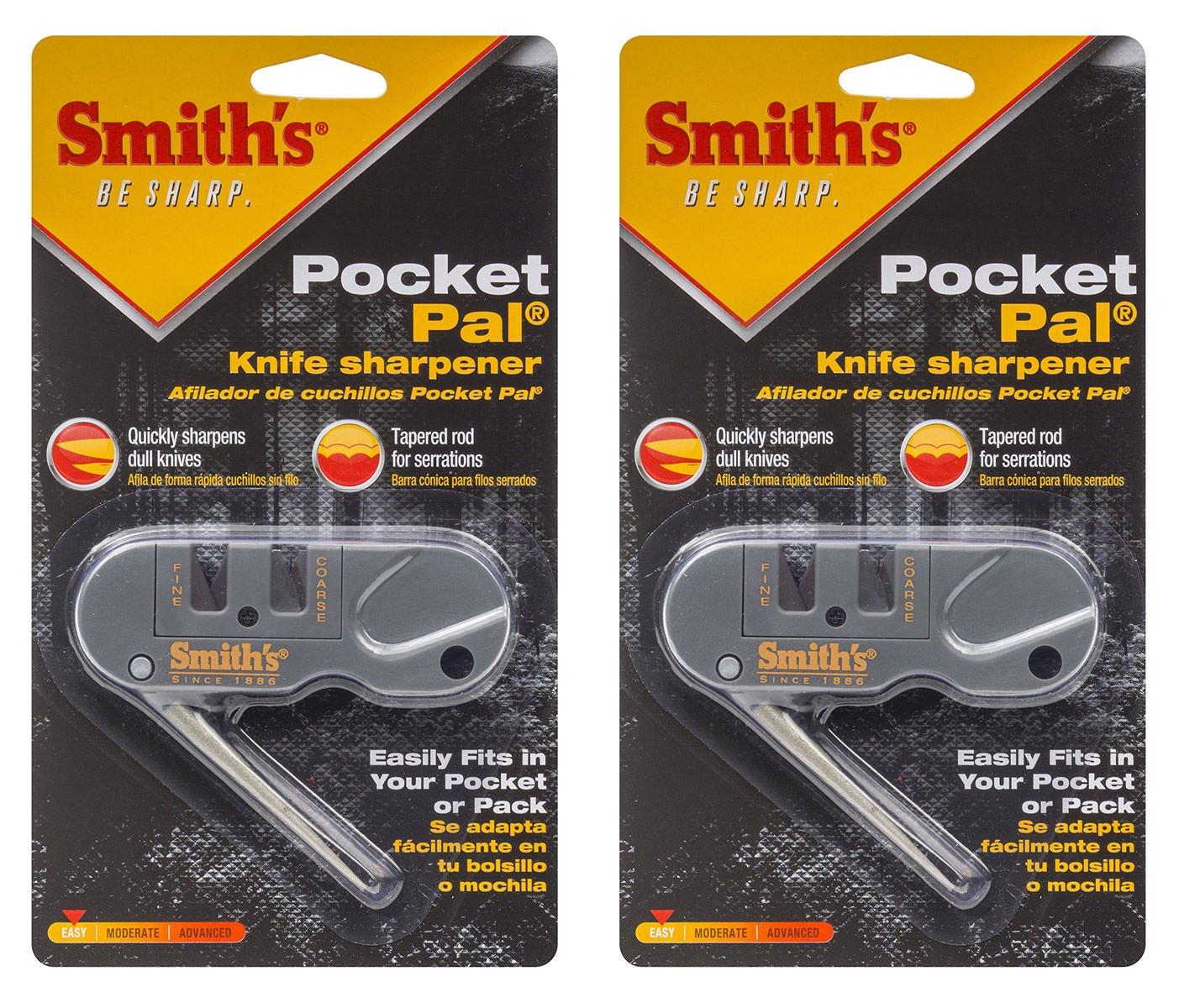 Smiths PP1 Pocket Pal Multifunction Sharpener, Grey, 2 Pack