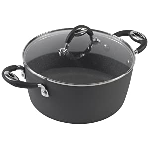 Bialetti Impact, 07558, textured nonstick surface, oil distribution,covered 5 quart dutch oven, gray