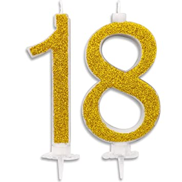 Velas Maxi de 18 años para Tarta de Fiesta de cumpleaños de 18 años, decoración de Velas de cumpleaños, Tarta de 18 años, Fiesta temática, Altura de ...