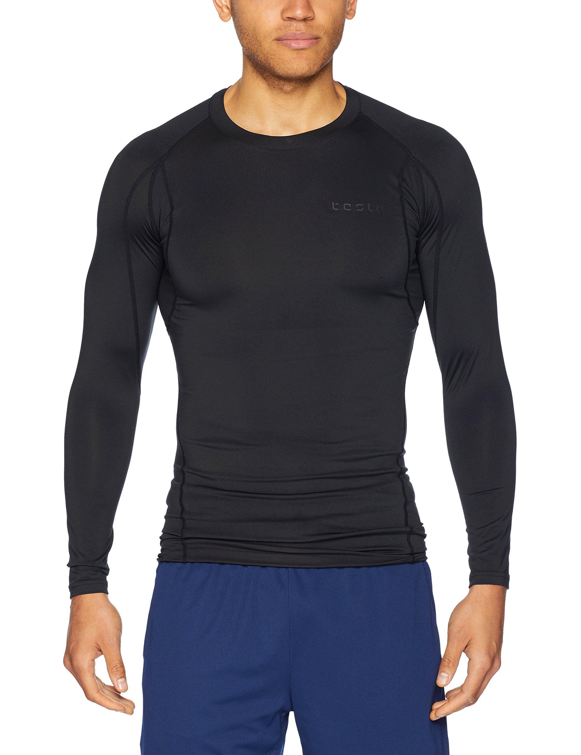 TSLA TM-MUD11-KLB_2X-Large Men's Long Sleeve T-Shirt Baselayer Cool Dry Compression Top MUD11