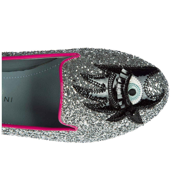Chiara Ferragni Damen Ballet Flats Silber Ballerinas Glitter Silber Flats 446505