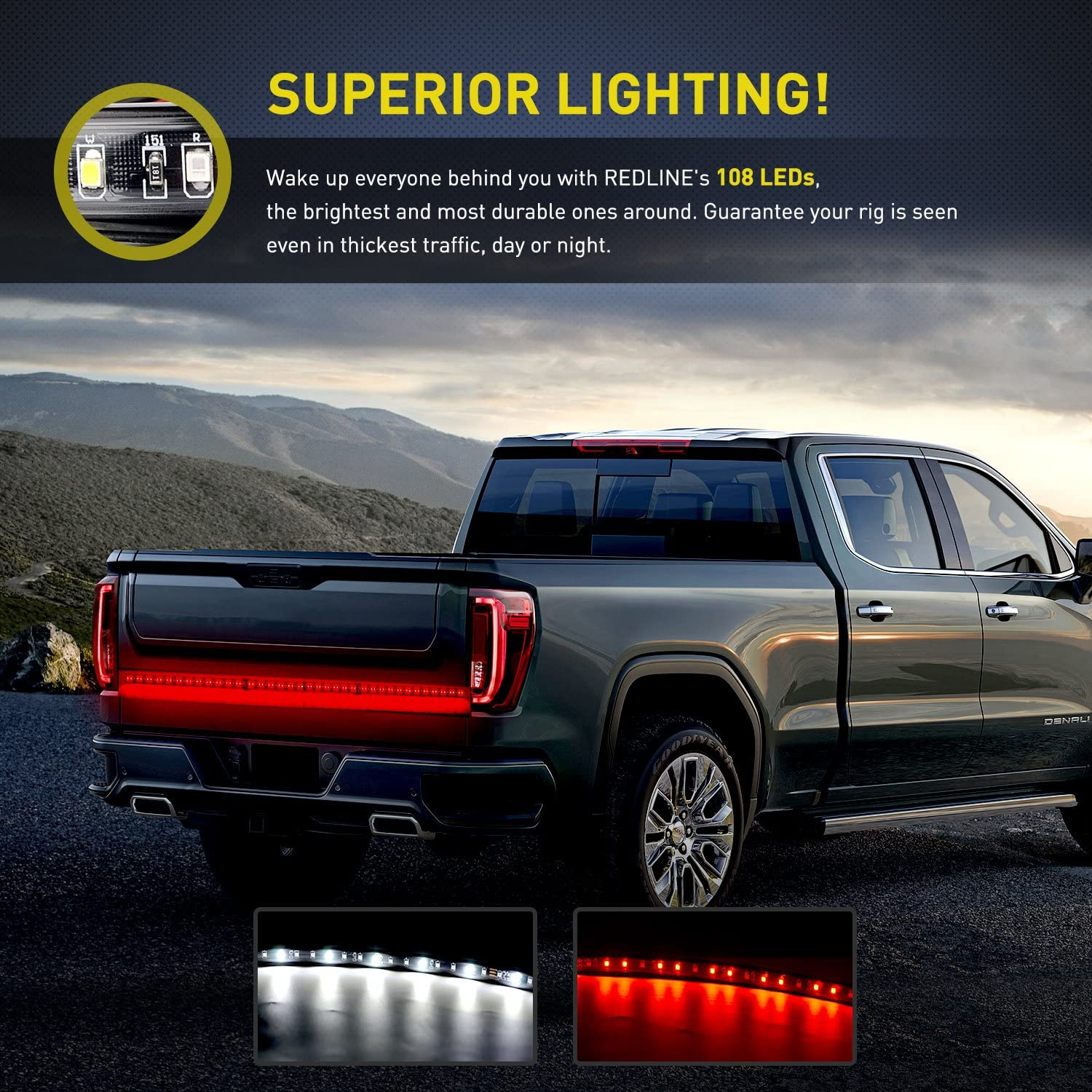 2 Years Warranty Nilight TL-11 1PC Red 9 LED ID Bar Marker Tail Black Stainless Steel Bracket for Truck Trailer Boat Identification Light