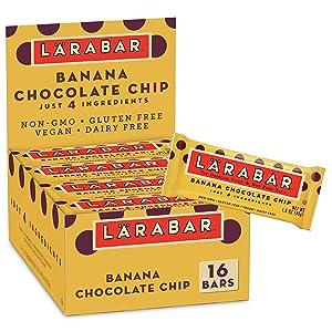 Larabar Fruit and Nut Bar Banana Chocolate Chip, Gluten Free, Vegan, 16 ct