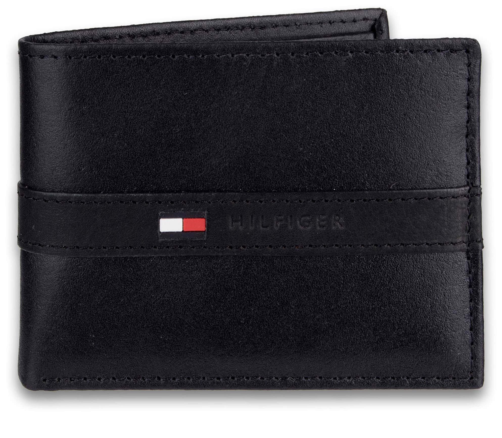 Tommy Hilfiger Men's Leather Wallet - Thin Sleek Casual Bifold with 6 Credit Card Pockets and Removable ID Window, Black by Tommy Hilfiger