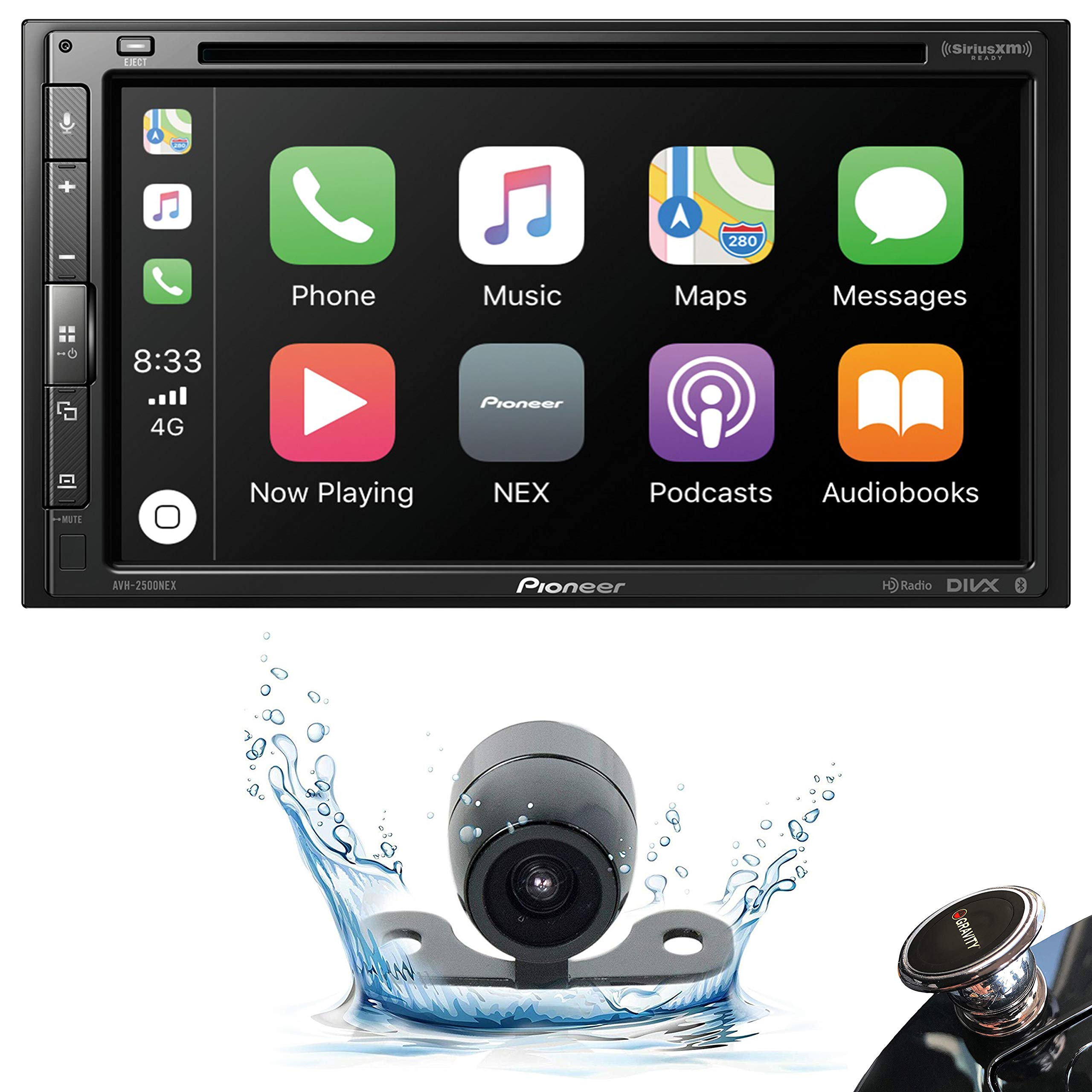 Pioneer AVH-2500NEX Double DIN in-Dash DVD/CD Car Stereo Receiver with Built-in Android Auto and Apple CarPlay, 6.8'' Touchscreen, and WebLink + Backup Camera + Gravity Phone Holder by PIONEER