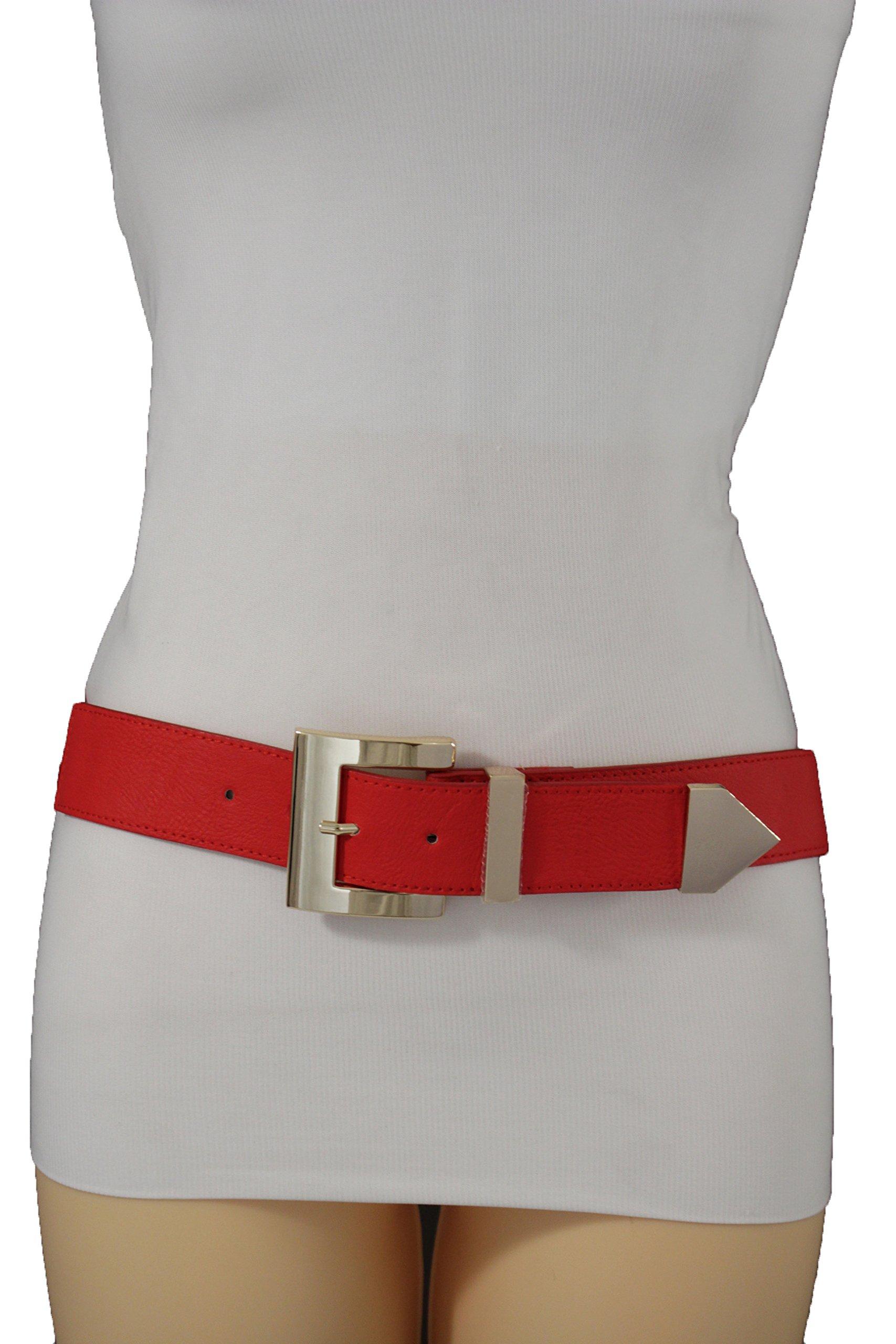TFJ Women Elastic Belt Hip Waist Gold Sqaure Buckle Elastic Plus M L XL Red