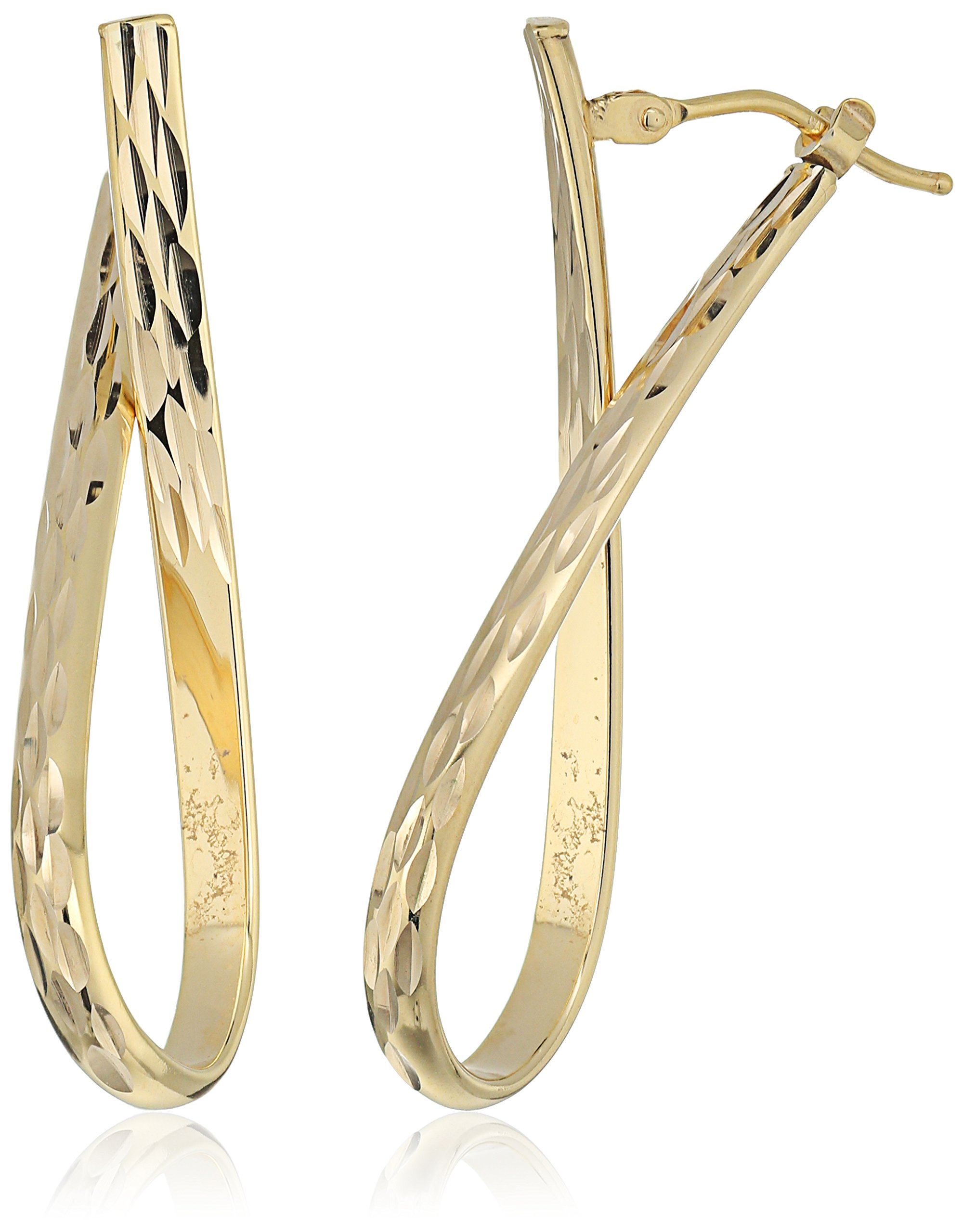 14k Yellow Gold Italian Textured Drop Earrings