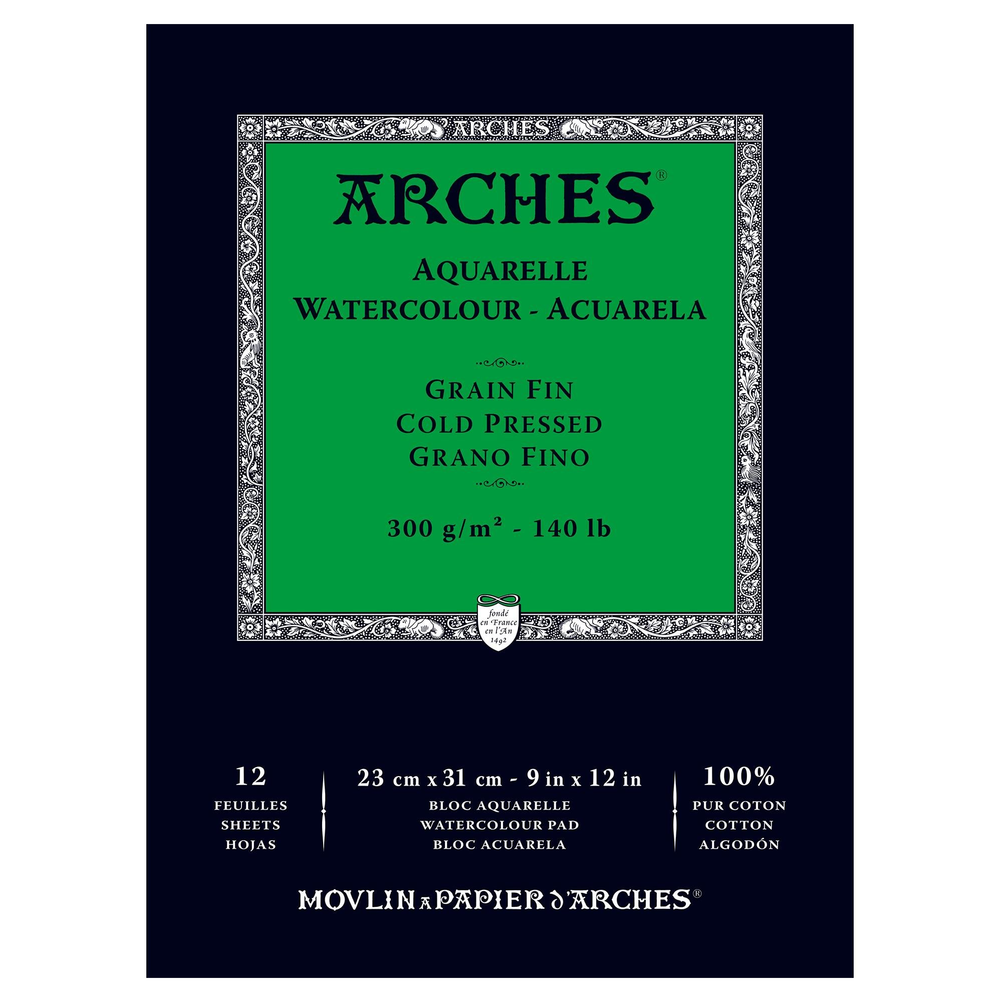 Arches Watercolor Paper Pad, 140 pound, Cold Press, 9''x12'' by Arches