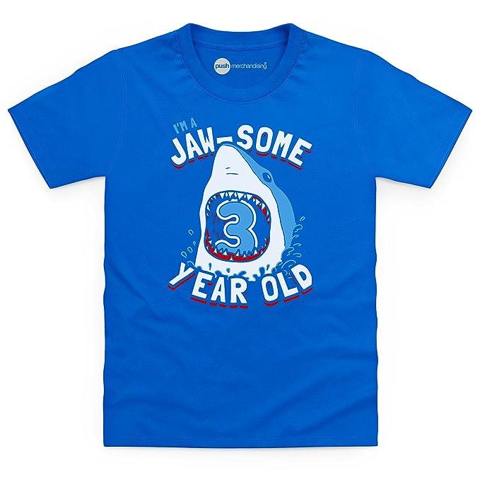 Birthday Boy Shark T-Shirt | Jawsome 3 Year Old Camiseta Infantil, para Nios