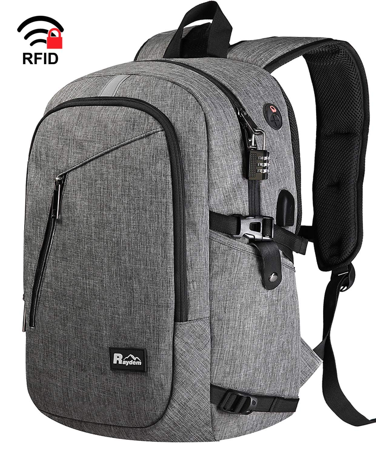 Laptop Backpack, Travel Business Anti Theft Backpack with USB Charging Port, Water Resistant College Bag for Women & Men Fits 15.6 Inch Laptop, Grey by Raydem