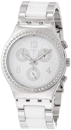 Swatch Reloj Cronógrafo para Mujer de Cuarzo con Correa en Acero Inoxidable YCS119G: Amazon.es: Relojes