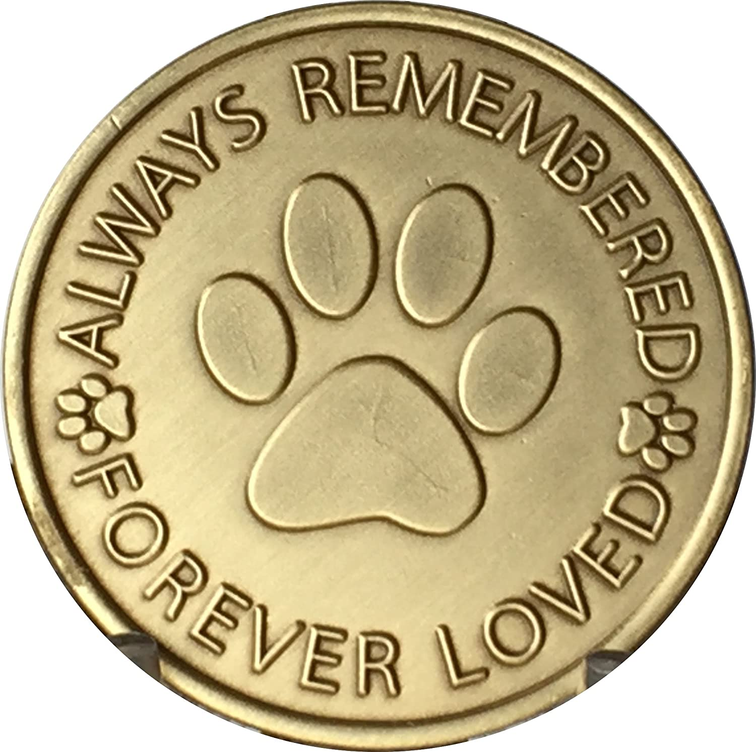 Always Remembered Forever Loved Pet Paw Print Dog Memorial Medallion Bronze Pocket Token RecoveryChip