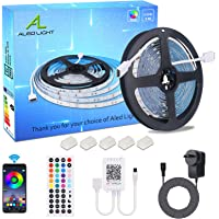 LED Strips Lights, ALED LIGHT Non-Waterproof 5050 RGB 5m Length 150 LED Multicolor Remote Control 44 Buttons and Power…