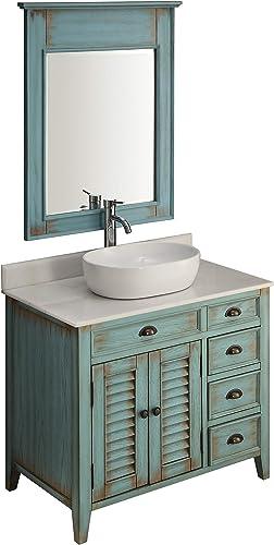 36″ Benton Collection Farmhouse Abbeville Rustic Vessel Sink Bath Vanity