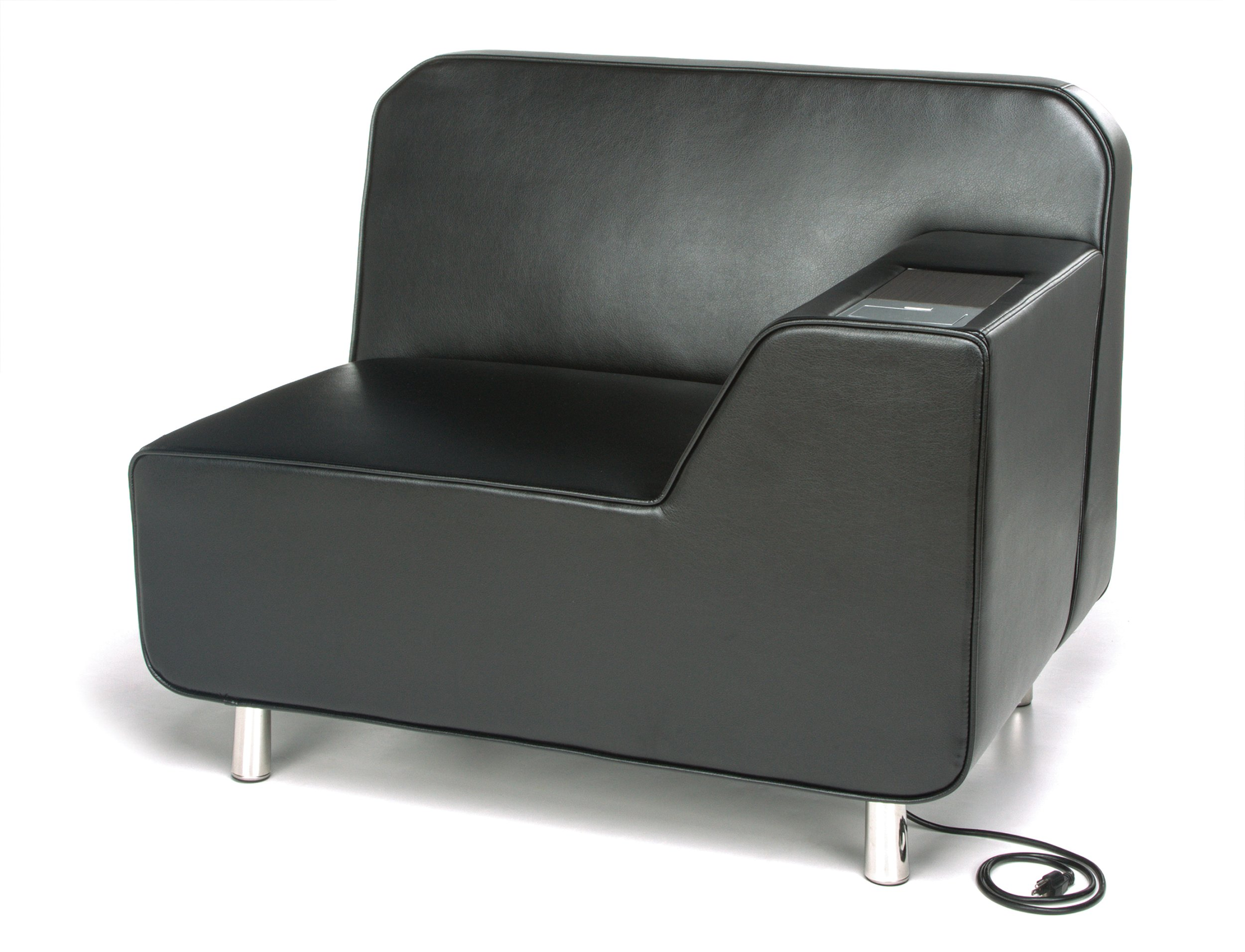 OFM 5000LE-BLK-TG Serenity Series Left Arm Lounge Chair with Electrical Outlet, Tungsten Tablet, Black