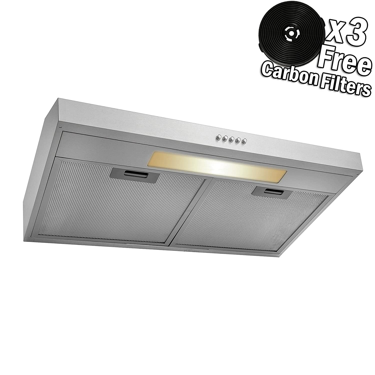 AKDY 24 Under Cabinet Stainless Steel Push Panel Kitchen Range Hood Cooking Fan w/Carbon Filters RH0333