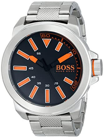 2aff19554 BOSS Orange Men's 1513006 New York Stainless Steel Bracelet Watch with  Black Dial