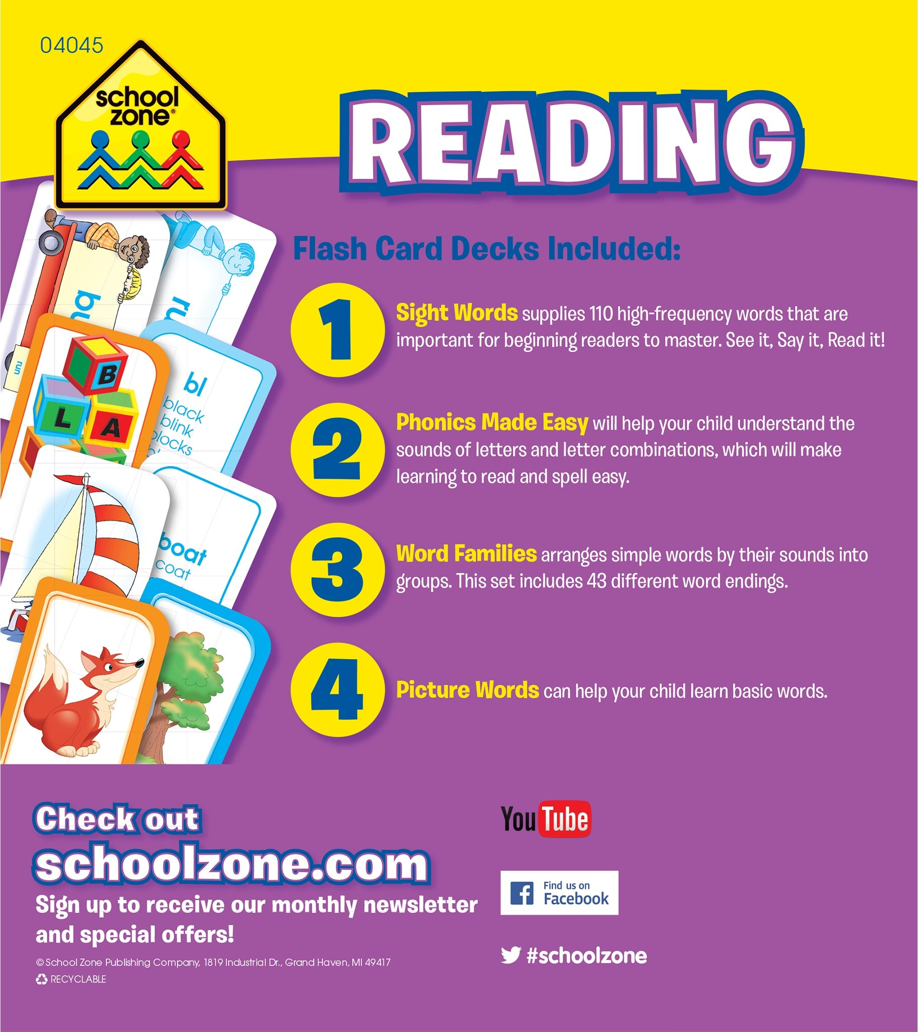 Worksheets Flash Card For Reading reading flash card 4 pack school zone staff 0076645040459 amazon com books