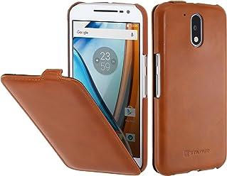 StilGut UltraSlim, Housse Motorola Moto G4   G4 Plus   Lenovo Moto G4 en Cuir. Etui de Protection à Ouverture Verticale et Fermeture clipsée en Cuir véritable, Cognac