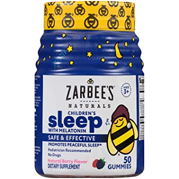 Zarbees Naturals Childrens Sleep with Melatonin Supplement, Mixed Fruit Flavored Gummies for...