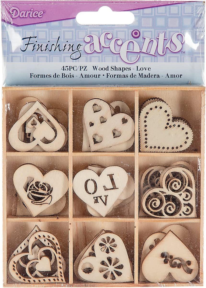 Finishing Accents 45 Piece Mini Laser Cuts Wood Shapes, Hearts Theme, Multicolor