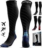 Compression Socks for Women & Men - 20-30 mmHg - Best for Flight Travel - DVT - Trail Running - Skiing - Athletics - Nurses - Shin Splints Support - Pregnancy Blood Circulation - L/XL