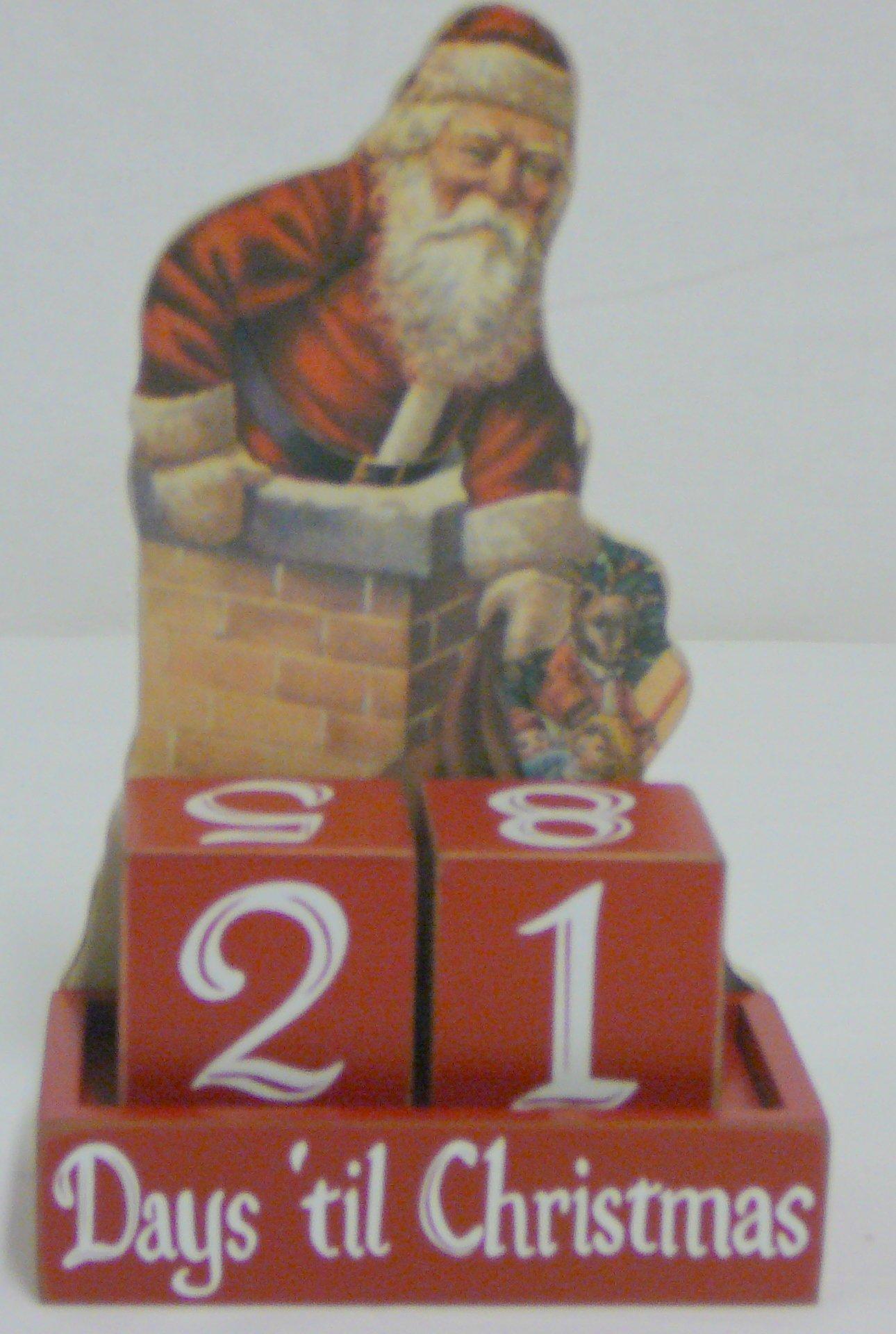 Primitives by Kathy Vintage Santa Countdown Days Til Christmas With Blocks Wood Advent Calendar New
