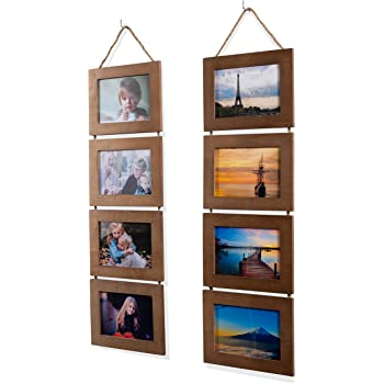 Wallniture Wood Photo Collage Picture Frame Walnut Finish Total 8